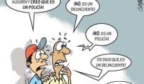 caricatura sobre policia y delincuente